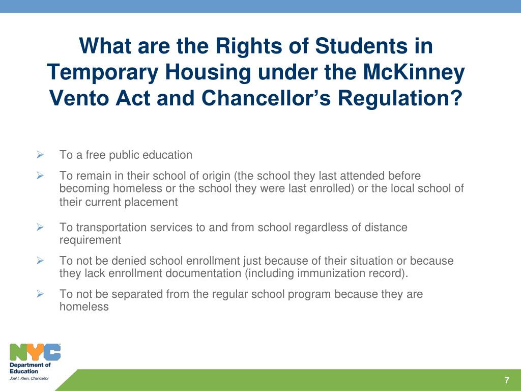 What are the Rights of Students in Temporary Housing under the McKinney Vento Act and Chancellor's Regulation?