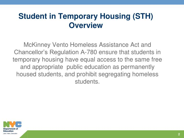 Student in temporary housing sth overview