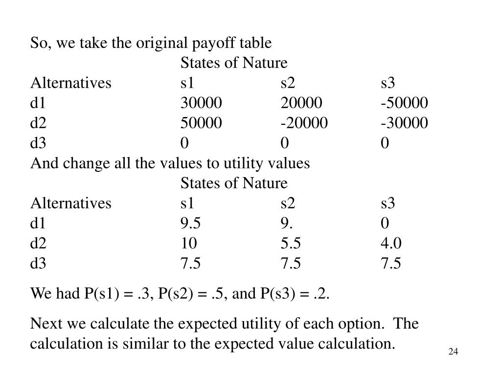 So, we take the original payoff table