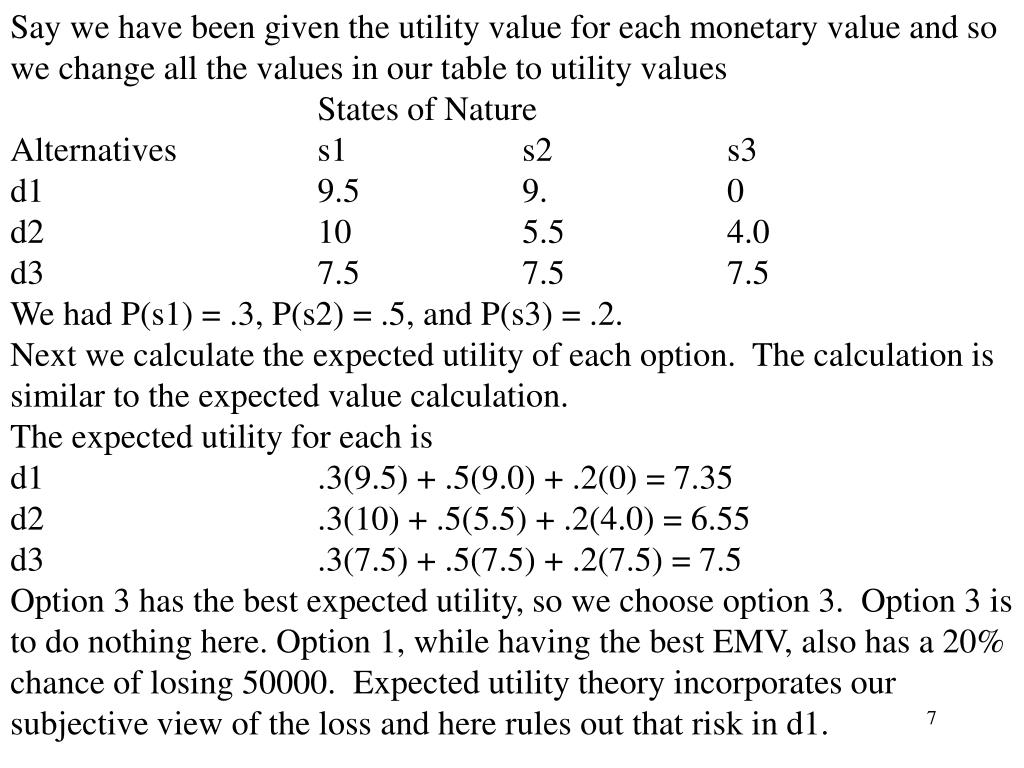 Say we have been given the utility value for each monetary value and so we change all the values in our table to utility values