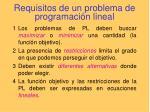 requisitos de un problema de programaci n lineal