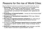 reasons for the rise of world cities