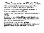 the character of world cities