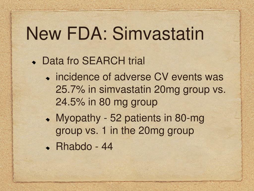 New FDA: Simvastatin