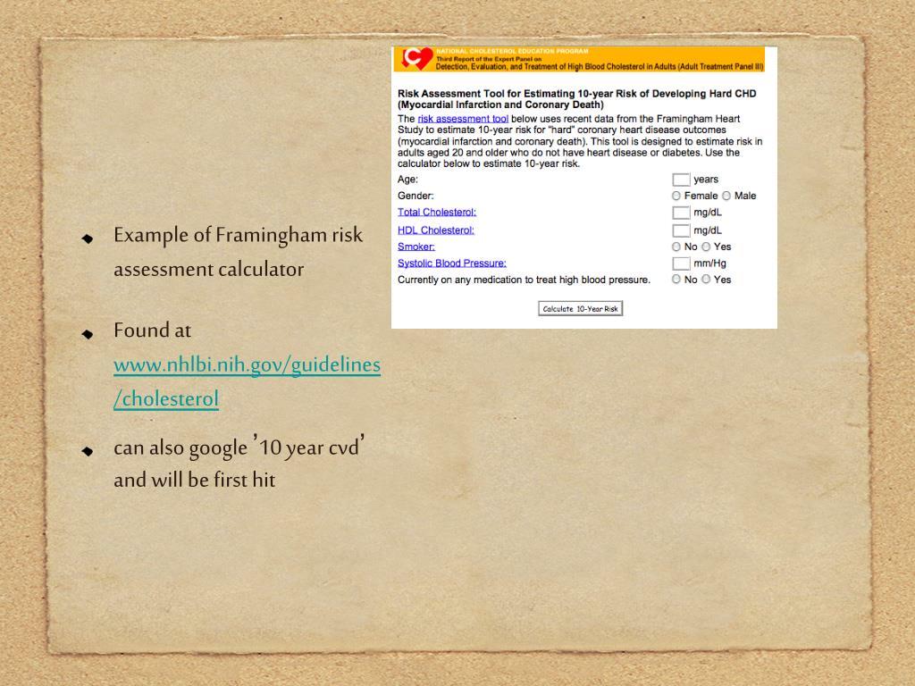 Example of Framingham risk assessment calculator