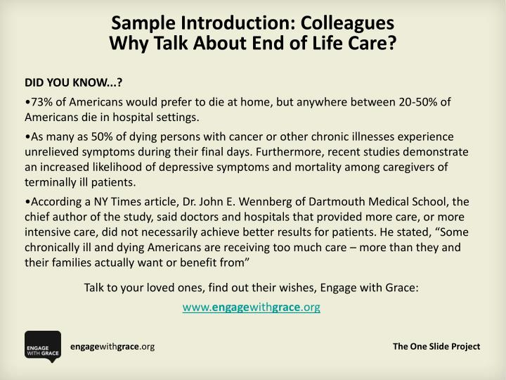 Sample introduction colleagues why talk about end of life care