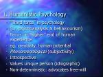 i humanistic psychology