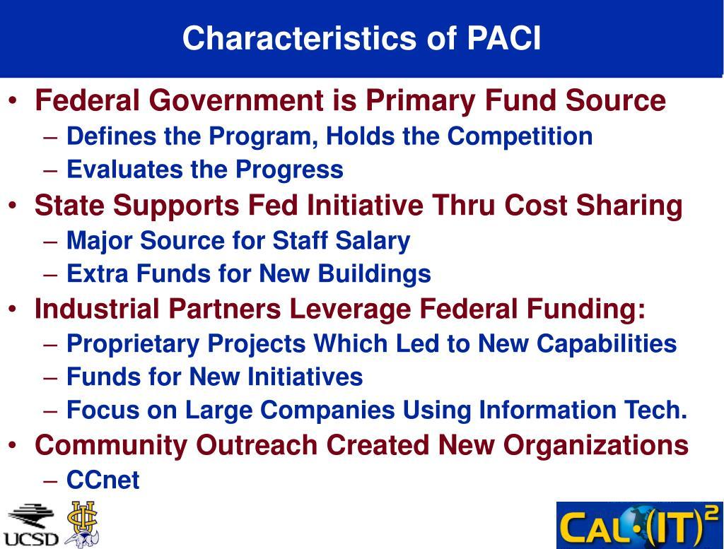 Characteristics of PACI