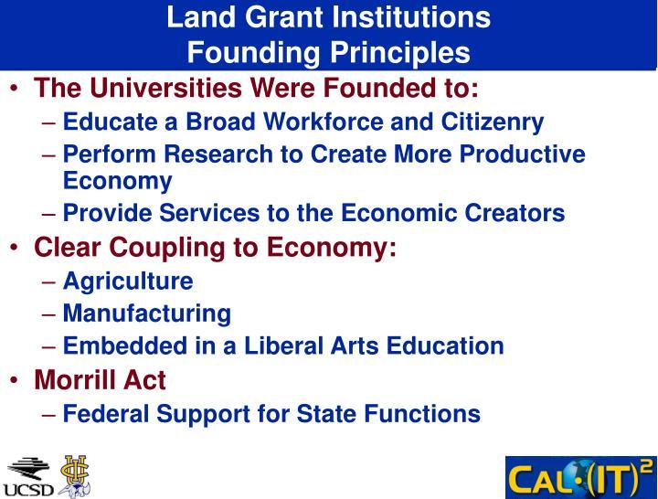 Land grant institutions founding principles