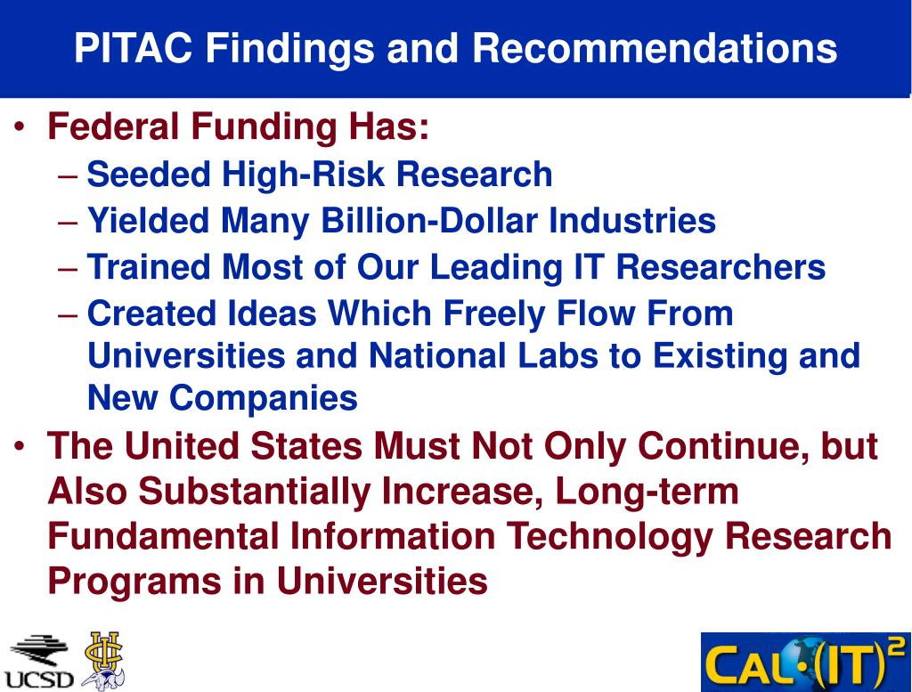 PITAC Findings and Recommendations