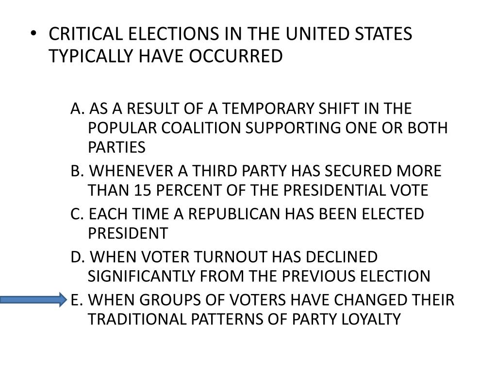 CRITICAL ELECTIONS IN THE UNITED STATES TYPICALLY HAVE OCCURRED