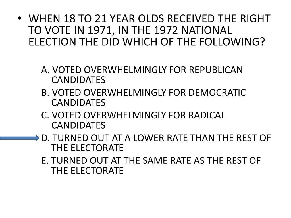 WHEN 18 TO 21 YEAR OLDS RECEIVED THE RIGHT TO VOTE IN 1971, IN THE 1972 NATIONAL ELECTION THE DID WHICH OF THE FOLLOWING?