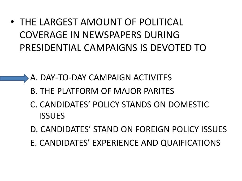 THE LARGEST AMOUNT OF POLITICAL COVERAGE IN NEWSPAPERS DURING PRESIDENTIAL CAMPAIGNS IS DEVOTED TO