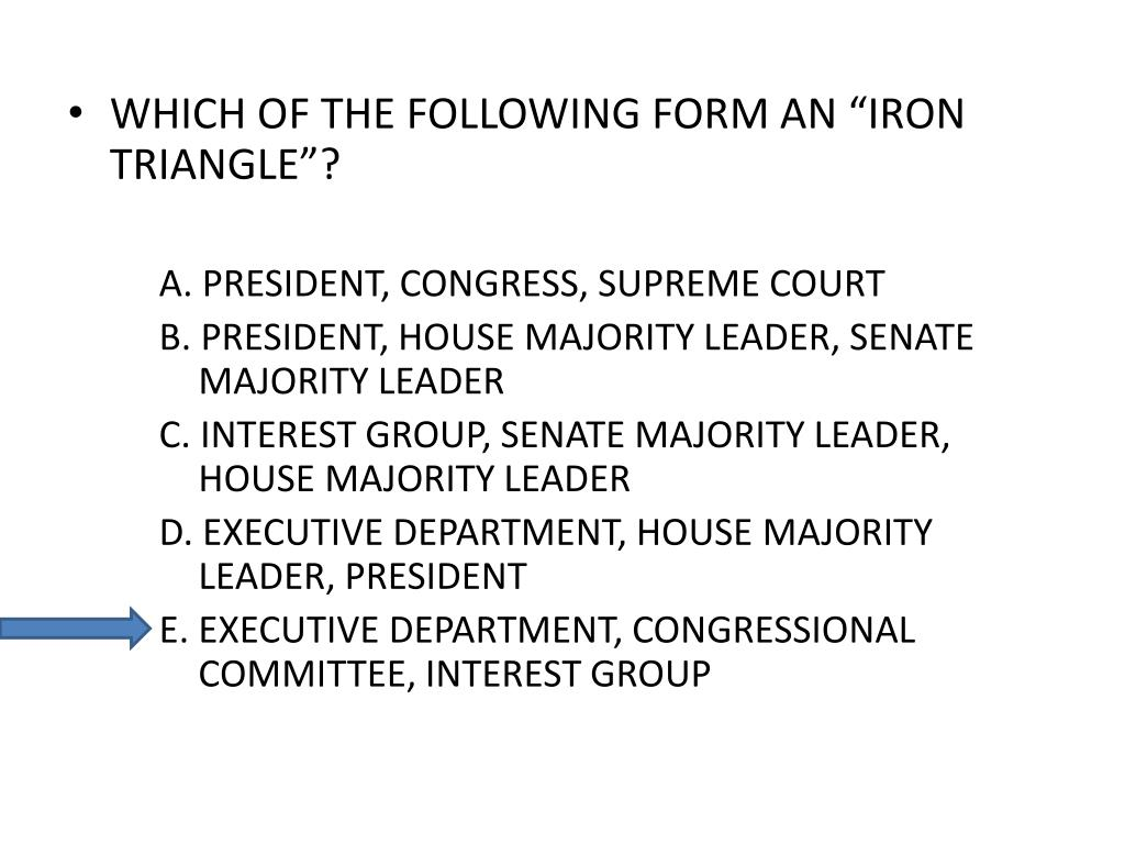 "WHICH OF THE FOLLOWING FORM AN ""IRON TRIANGLE""?"