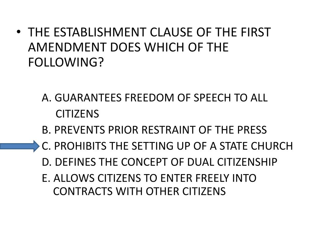 THE ESTABLISHMENT CLAUSE OF THE FIRST AMENDMENT DOES WHICH OF THE FOLLOWING?