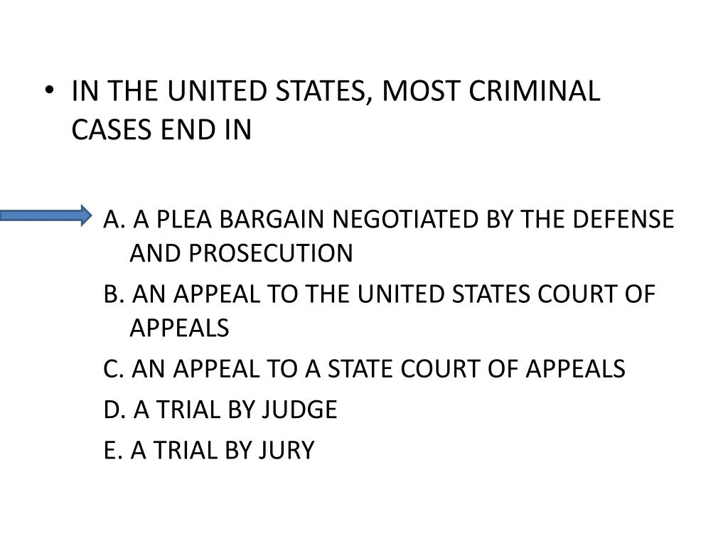 IN THE UNITED STATES, MOST CRIMINAL CASES END IN