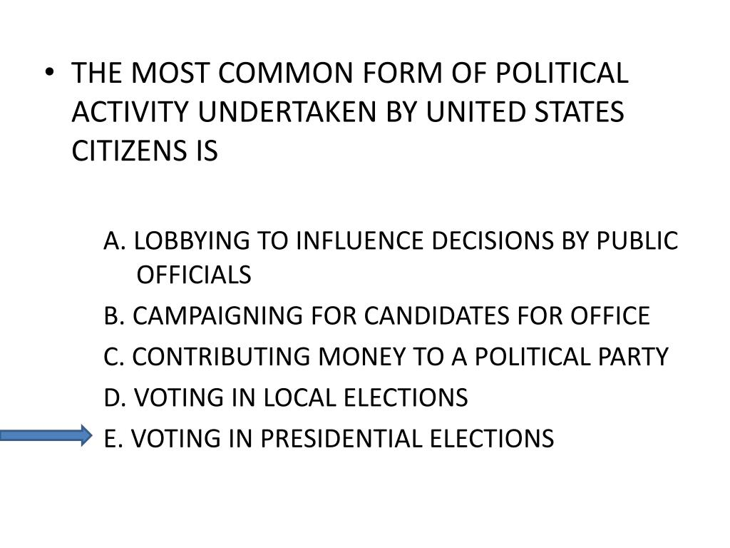 THE MOST COMMON FORM OF POLITICAL ACTIVITY UNDERTAKEN BY UNITED STATES CITIZENS IS