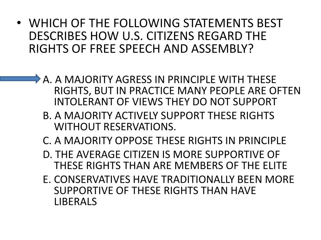 WHICH OF THE FOLLOWING STATEMENTS BEST DESCRIBES HOW U.S. CITIZENS REGARD THE RIGHTS OF FREE SPEECH AND ASSEMBLY?
