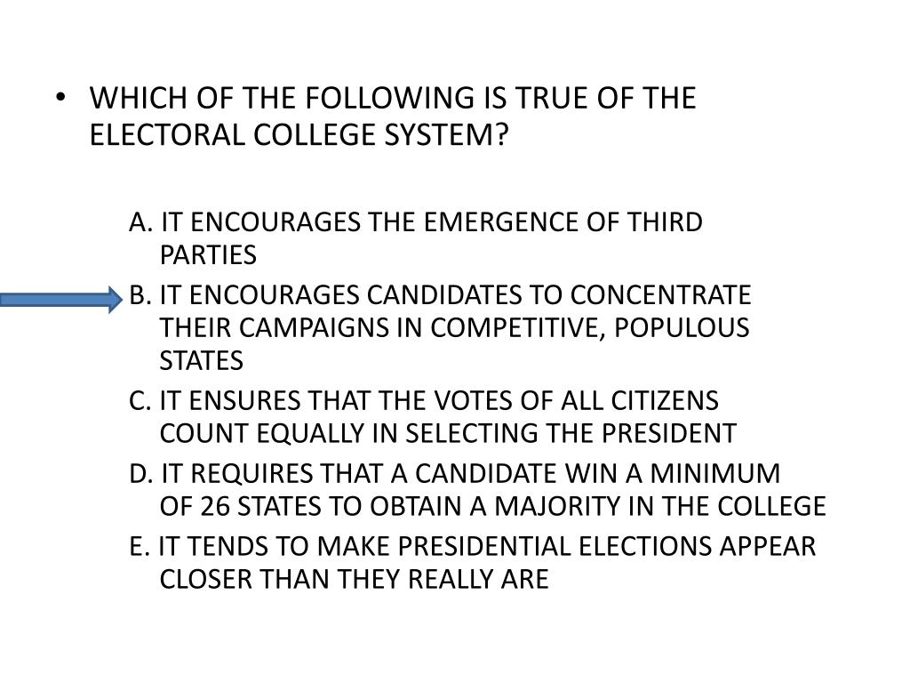 WHICH OF THE FOLLOWING IS TRUE OF THE ELECTORAL COLLEGE SYSTEM?