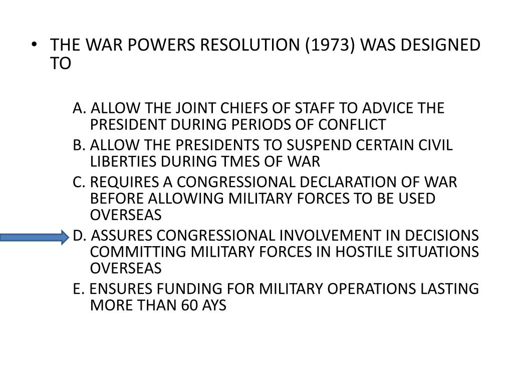 THE WAR POWERS RESOLUTION (1973) WAS DESIGNED TO