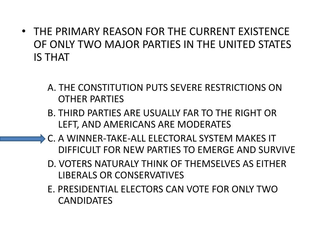 THE PRIMARY REASON FOR THE CURRENT EXISTENCE OF ONLY TWO MAJOR PARTIES IN THE UNITED STATES IS THAT