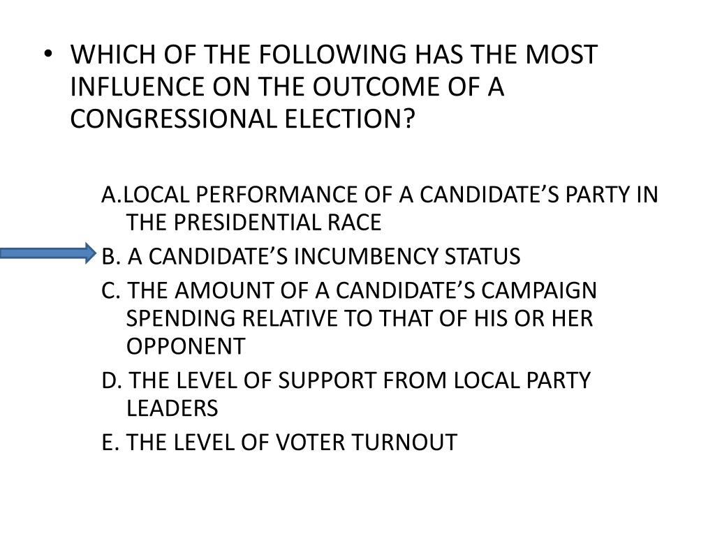 WHICH OF THE FOLLOWING HAS THE MOST INFLUENCE ON THE OUTCOME OF A CONGRESSIONAL ELECTION?