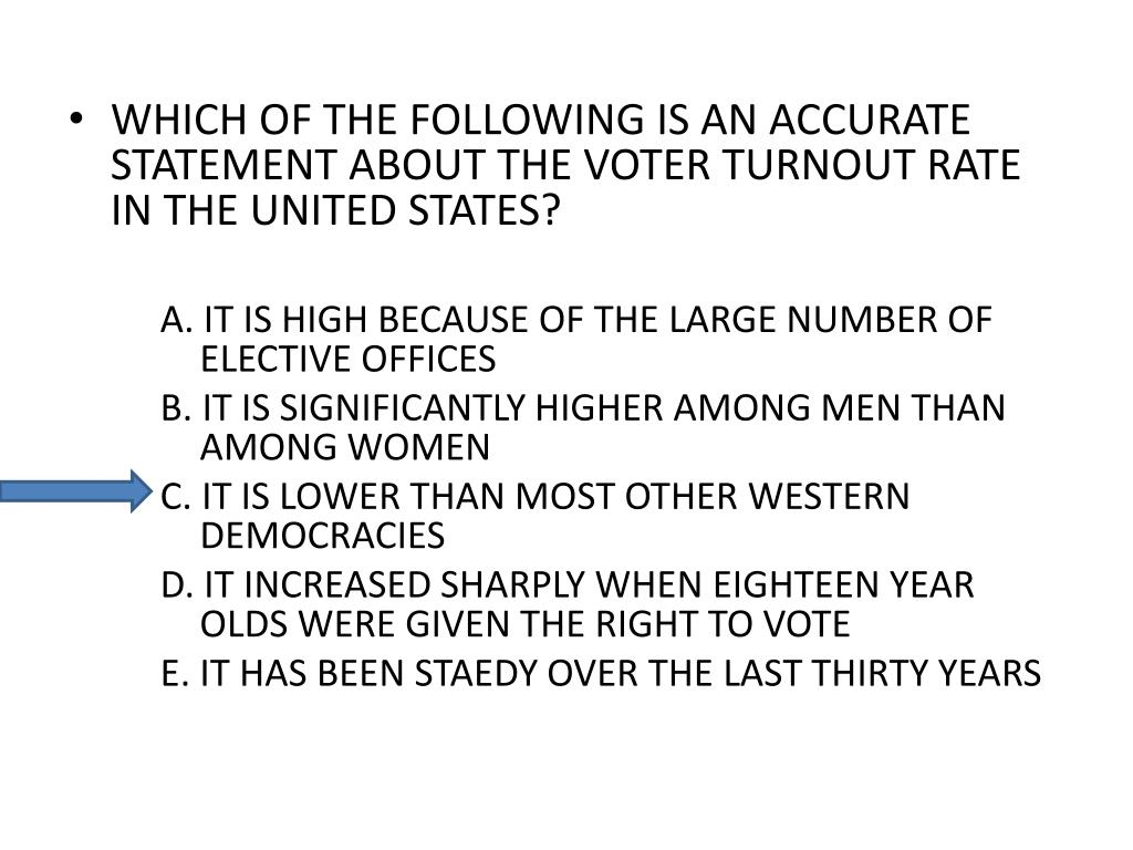 WHICH OF THE FOLLOWING IS AN ACCURATE STATEMENT ABOUT THE VOTER TURNOUT RATE IN THE UNITED STATES?