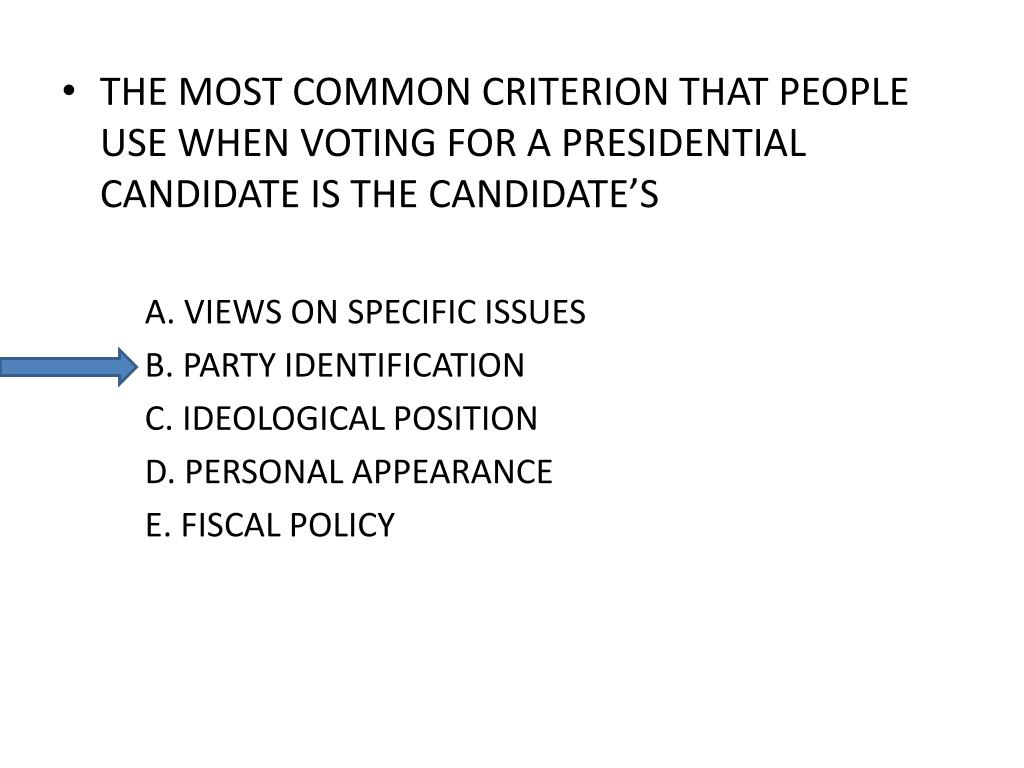 THE MOST COMMON CRITERION THAT PEOPLE USE WHEN VOTING FOR A PRESIDENTIAL CANDIDATE IS THE CANDIDATE'S