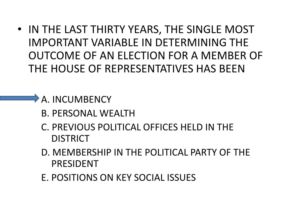 IN THE LAST THIRTY YEARS, THE SINGLE MOST IMPORTANT VARIABLE IN DETERMINING THE OUTCOME OF AN ELECTION FOR A MEMBER OF THE HOUSE OF REPRESENTATIVES HAS BEEN