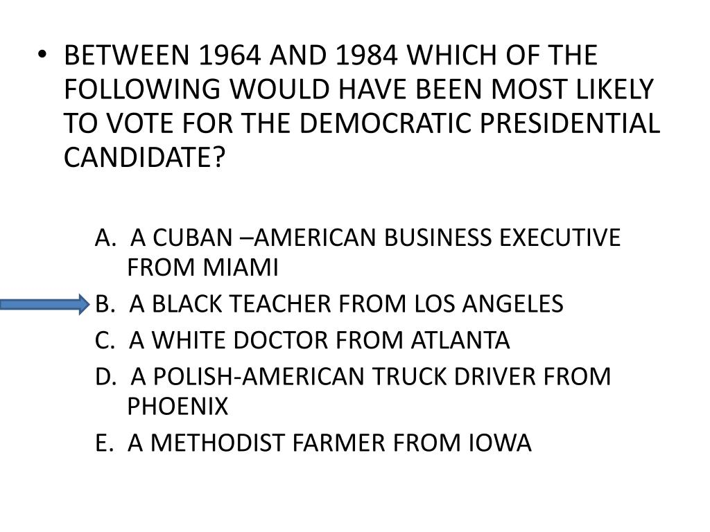 BETWEEN 1964 AND 1984 WHICH OF THE FOLLOWING WOULD HAVE BEEN MOST LIKELY TO VOTE FOR THE DEMOCRATIC PRESIDENTIAL CANDIDATE?