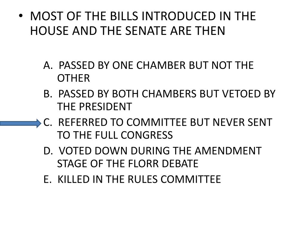MOST OF THE BILLS INTRODUCED IN THE HOUSE AND THE SENATE ARE THEN