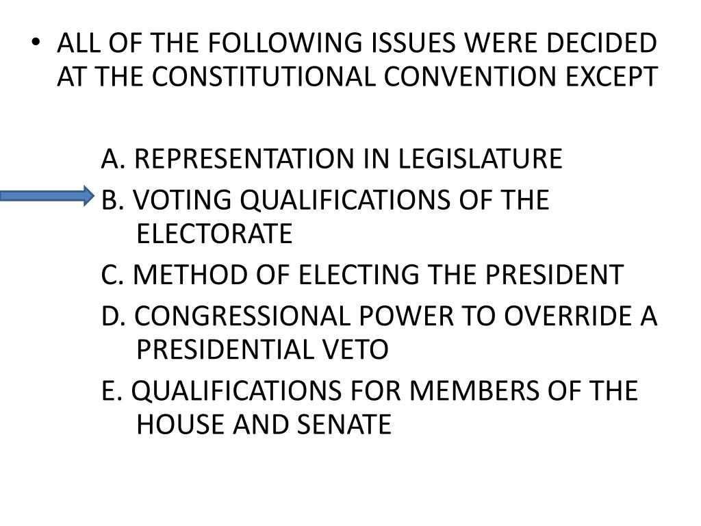 ALL OF THE FOLLOWING ISSUES WERE DECIDED AT THE CONSTITUTIONAL CONVENTION EXCEPT