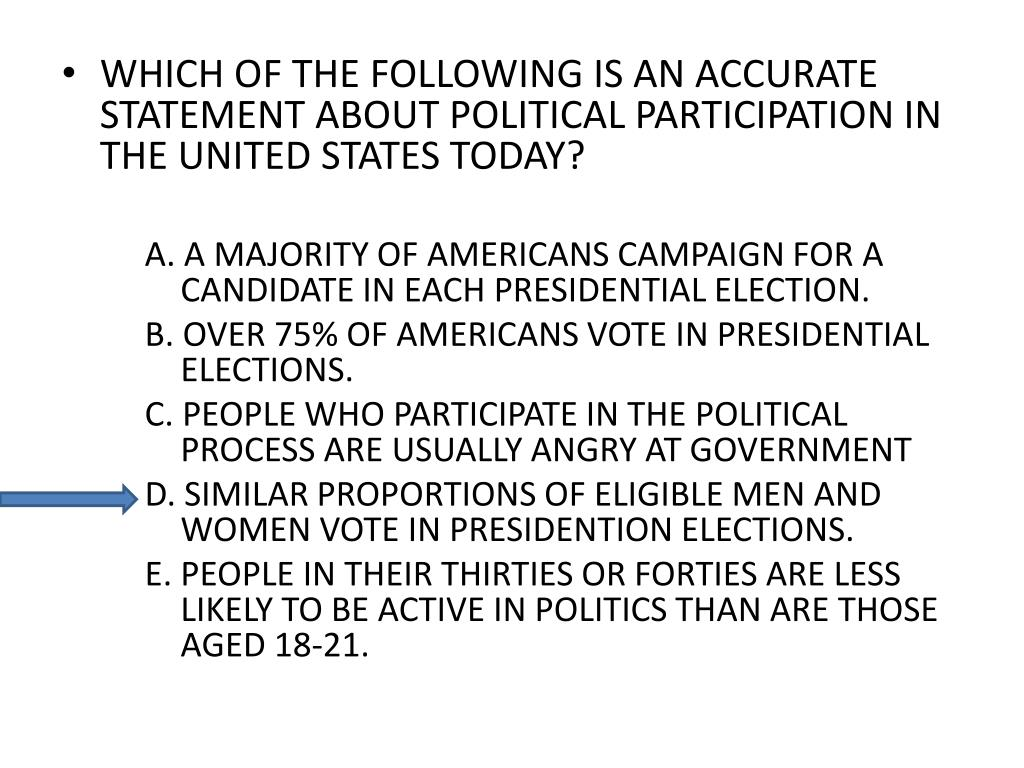 WHICH OF THE FOLLOWING IS AN ACCURATE STATEMENT ABOUT POLITICAL PARTICIPATION IN THE UNITED STATES TODAY?