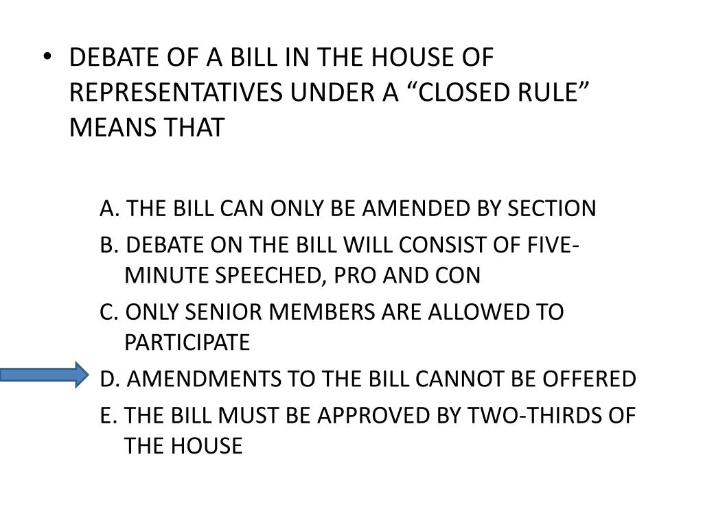 "DEBATE OF A BILL IN THE HOUSE OF REPRESENTATIVES UNDER A ""CLOSED RULE"" MEANS THAT"