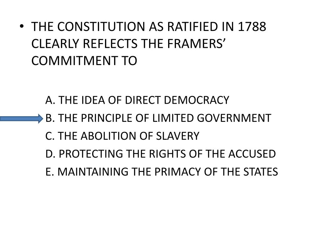 THE CONSTITUTION AS RATIFIED IN 1788 CLEARLY REFLECTS THE FRAMERS' COMMITMENT TO