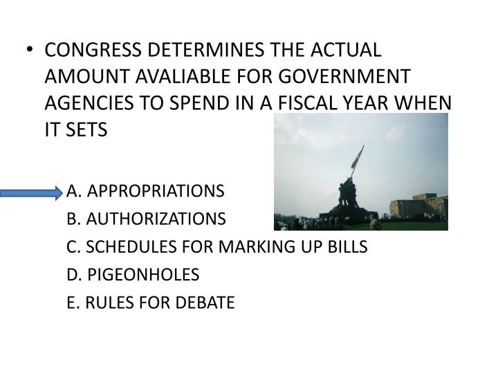 CONGRESS DETERMINES THE ACTUAL AMOUNT AVALIABLE FOR GOVERNMENT AGENCIES TO SPEND IN A FISCAL YEAR WH...