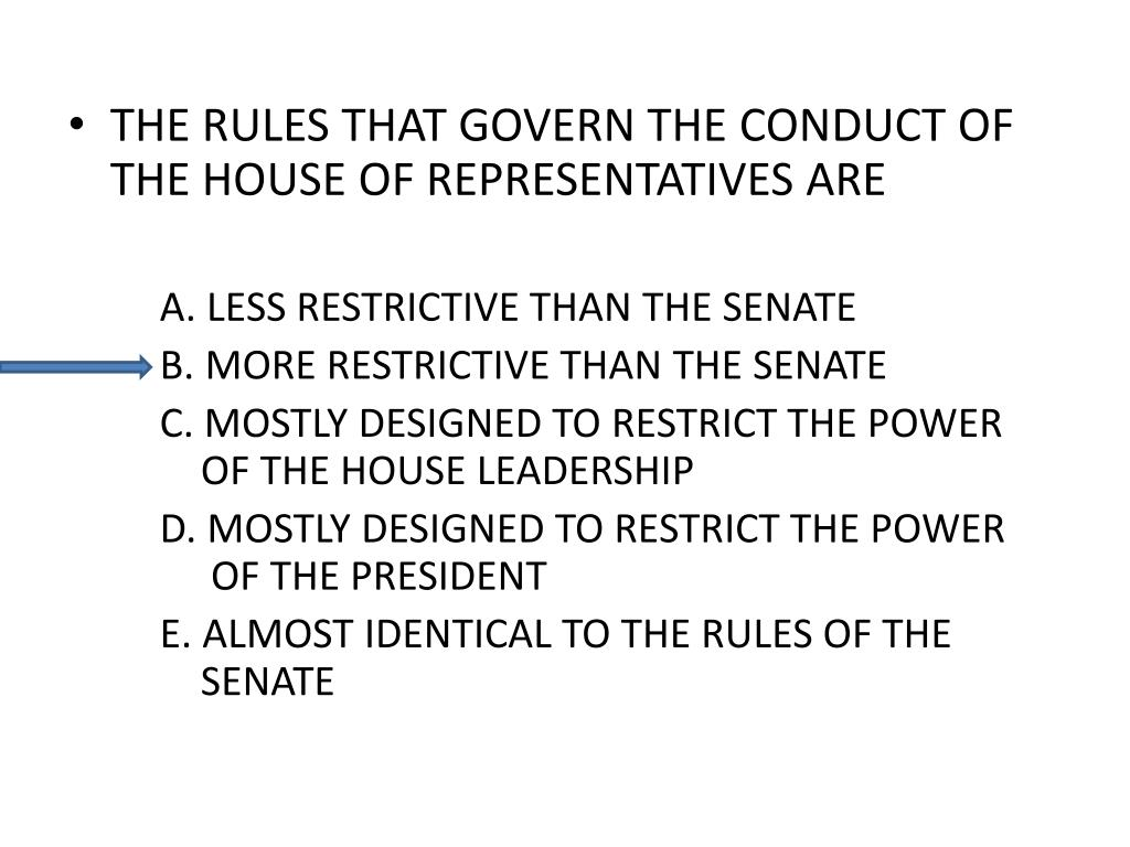 THE RULES THAT GOVERN THE CONDUCT OF THE HOUSE OF REPRESENTATIVES ARE