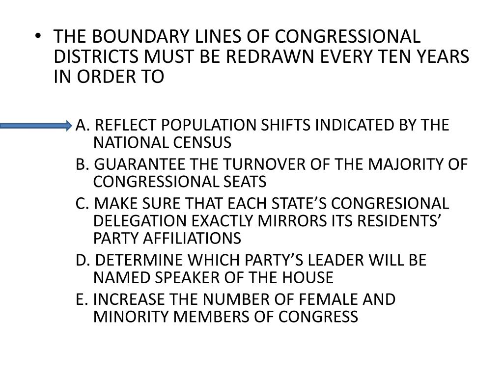 THE BOUNDARY LINES OF CONGRESSIONAL DISTRICTS MUST BE REDRAWN EVERY TEN YEARS IN ORDER TO