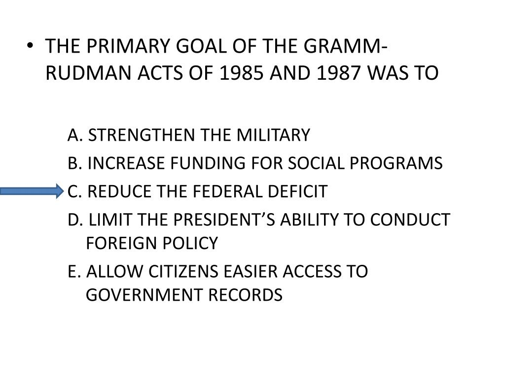 THE PRIMARY GOAL OF THE GRAMM-RUDMAN ACTS OF 1985 AND 1987 WAS TO