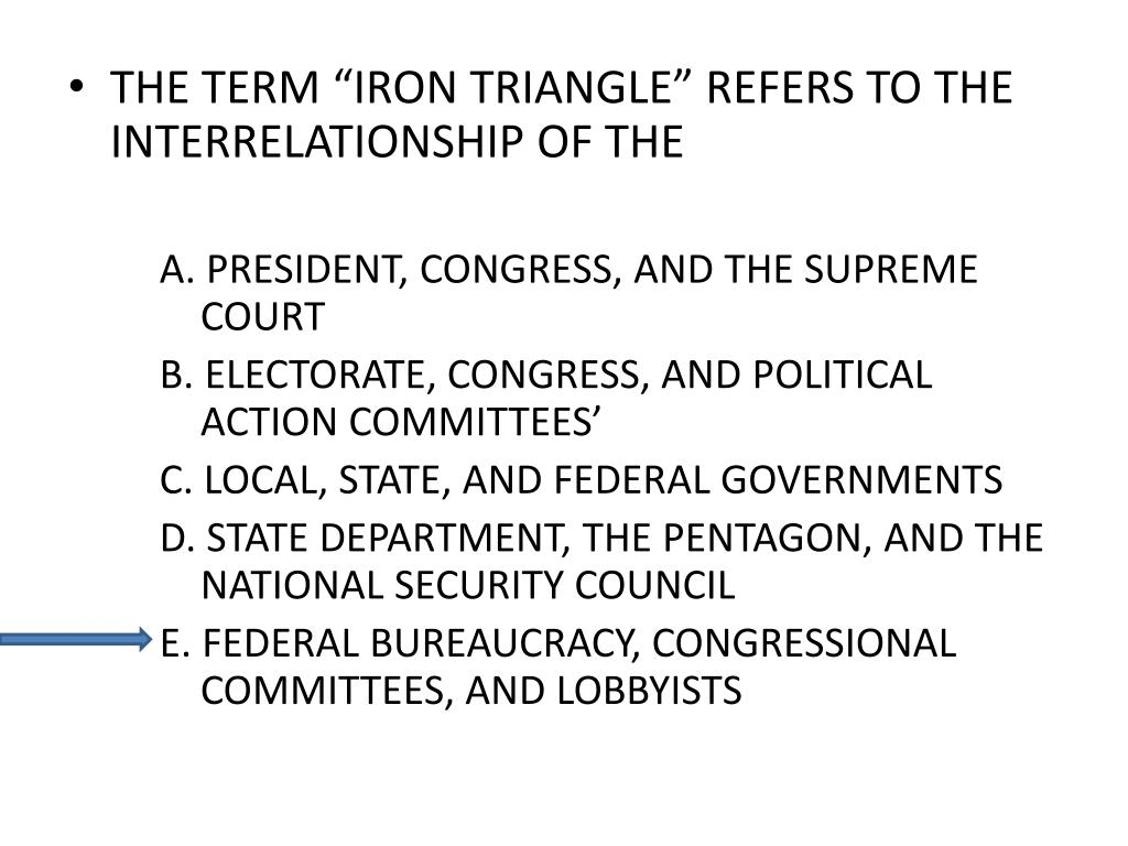 "THE TERM ""IRON TRIANGLE"" REFERS TO THE INTERRELATIONSHIP OF THE"