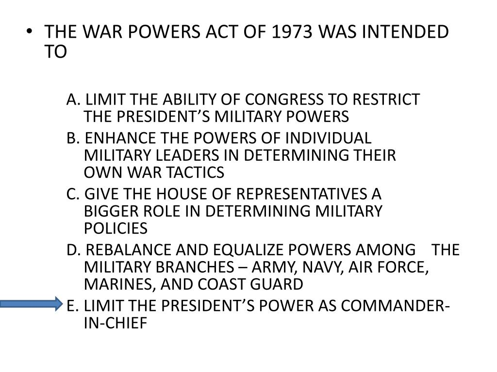 THE WAR POWERS ACT OF 1973 WAS INTENDED TO