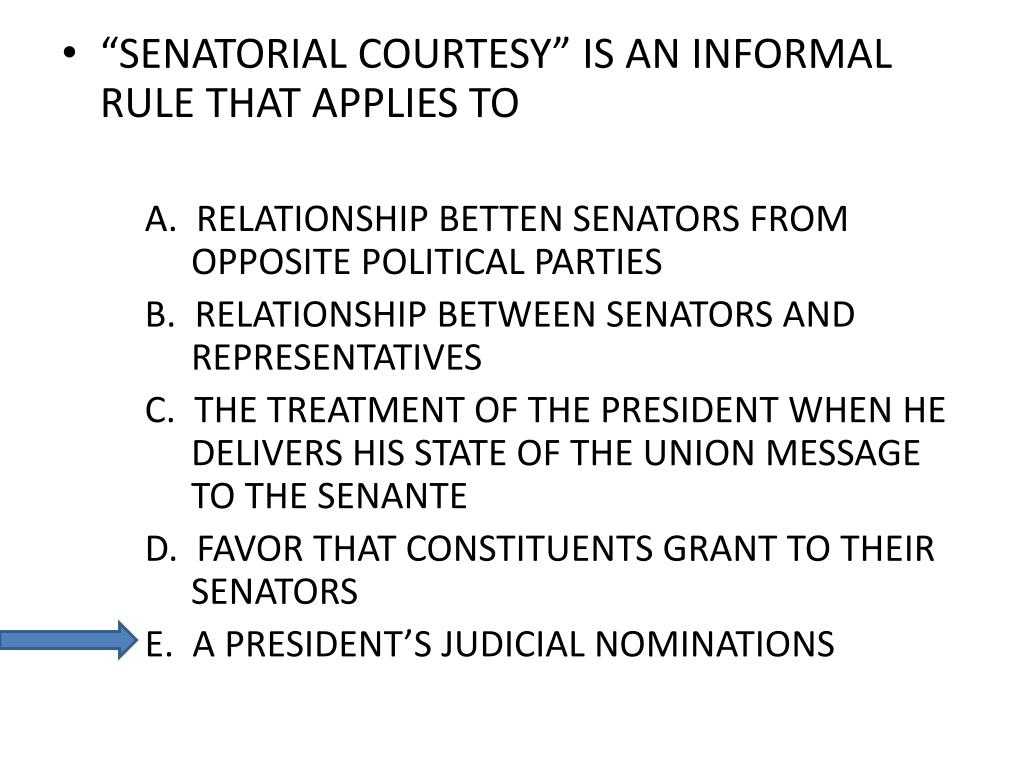 """SENATORIAL COURTESY"" IS AN INFORMAL RULE THAT APPLIES TO"