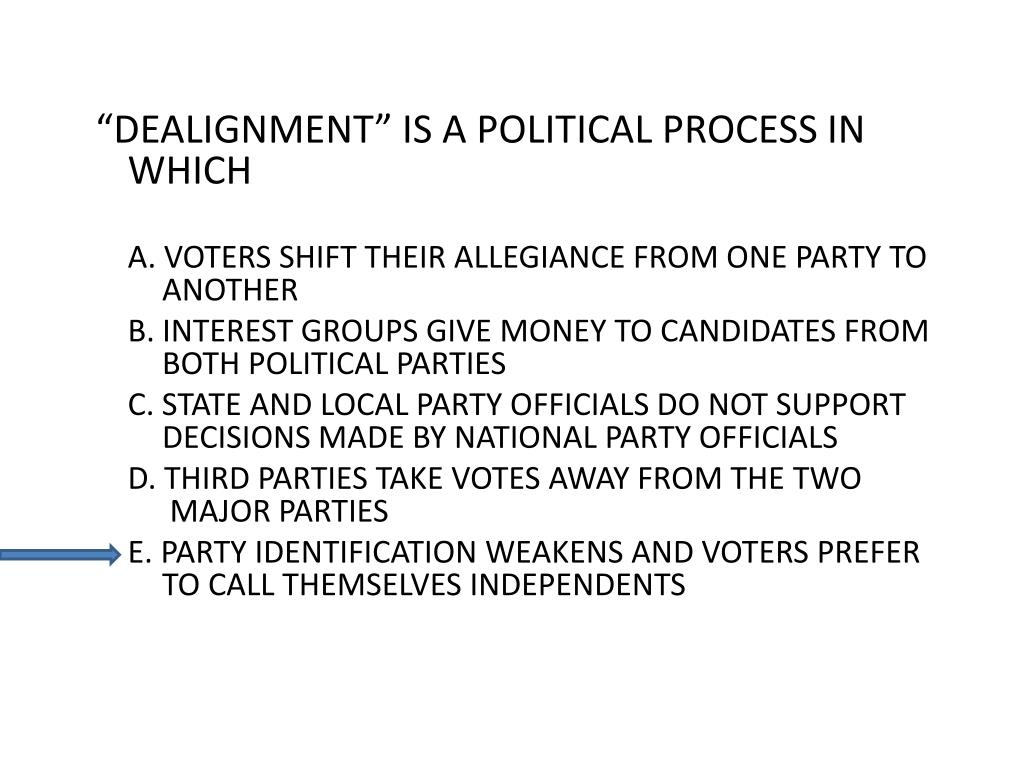 """DEALIGNMENT"" IS A POLITICAL PROCESS IN WHICH"