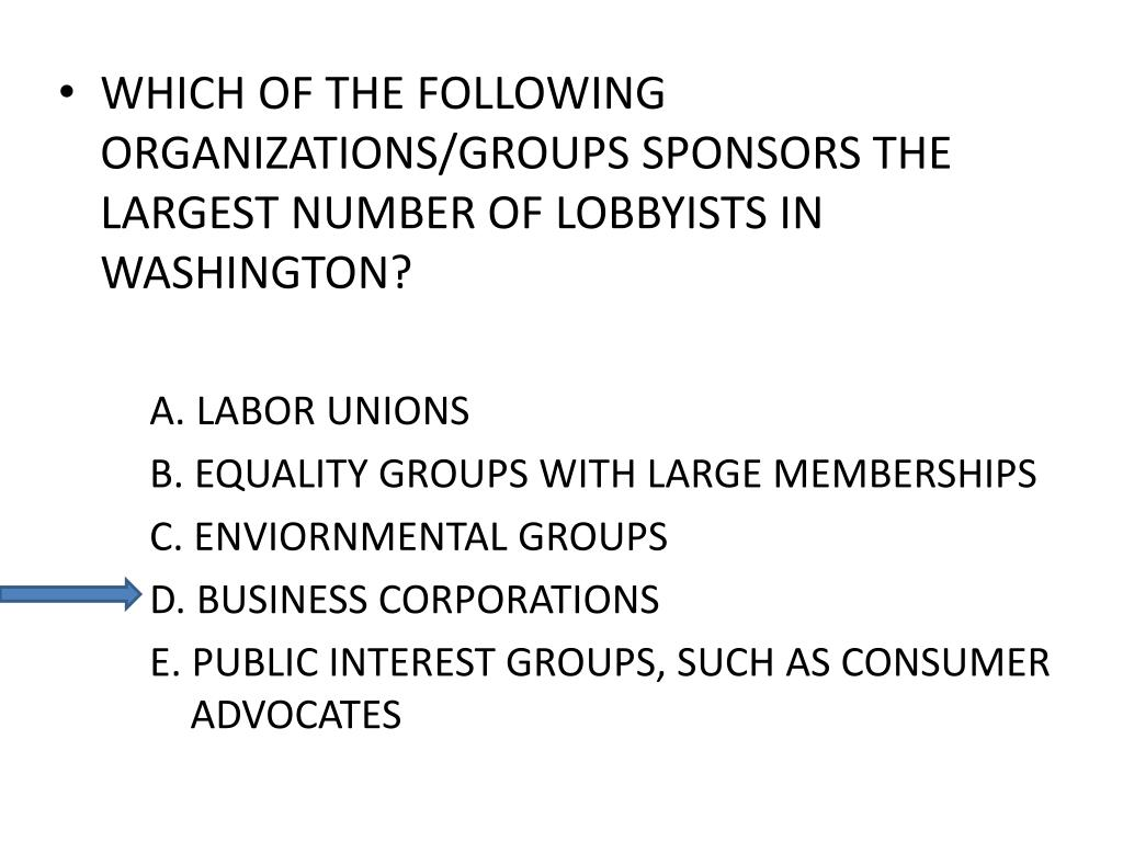 WHICH OF THE FOLLOWING ORGANIZATIONS/GROUPS SPONSORS THE LARGEST NUMBER OF LOBBYISTS IN WASHINGTON?