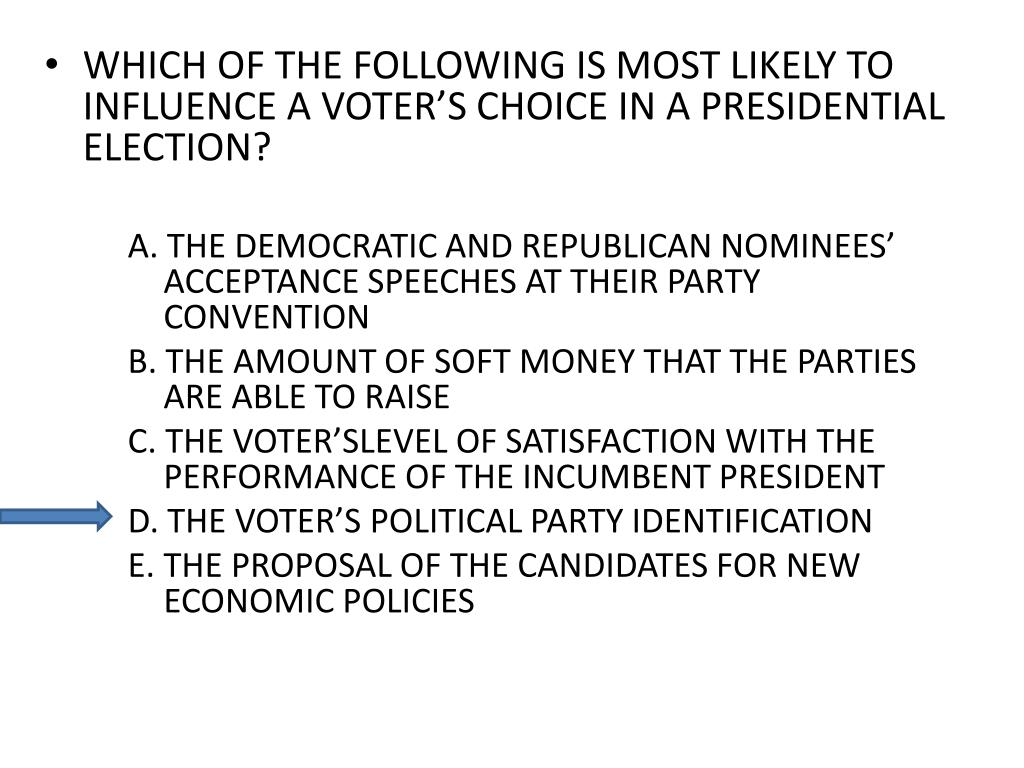 WHICH OF THE FOLLOWING IS MOST LIKELY TO INFLUENCE A VOTER'S CHOICE IN A PRESIDENTIAL ELECTION?
