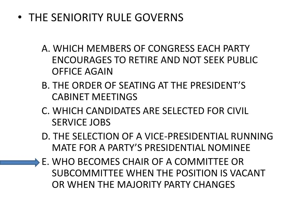 THE SENIORITY RULE GOVERNS