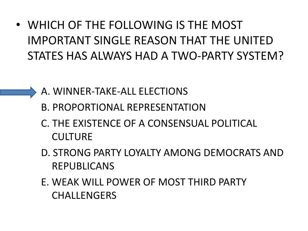 WHICH OF THE FOLLOWING IS THE MOST IMPORTANT SINGLE REASON THAT THE UNITED STATES HAS ALWAYS HAD A TWO-PARTY SYSTEM?