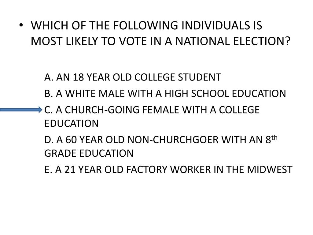 WHICH OF THE FOLLOWING INDIVIDUALS IS MOST LIKELY TO VOTE IN A NATIONAL ELECTION?