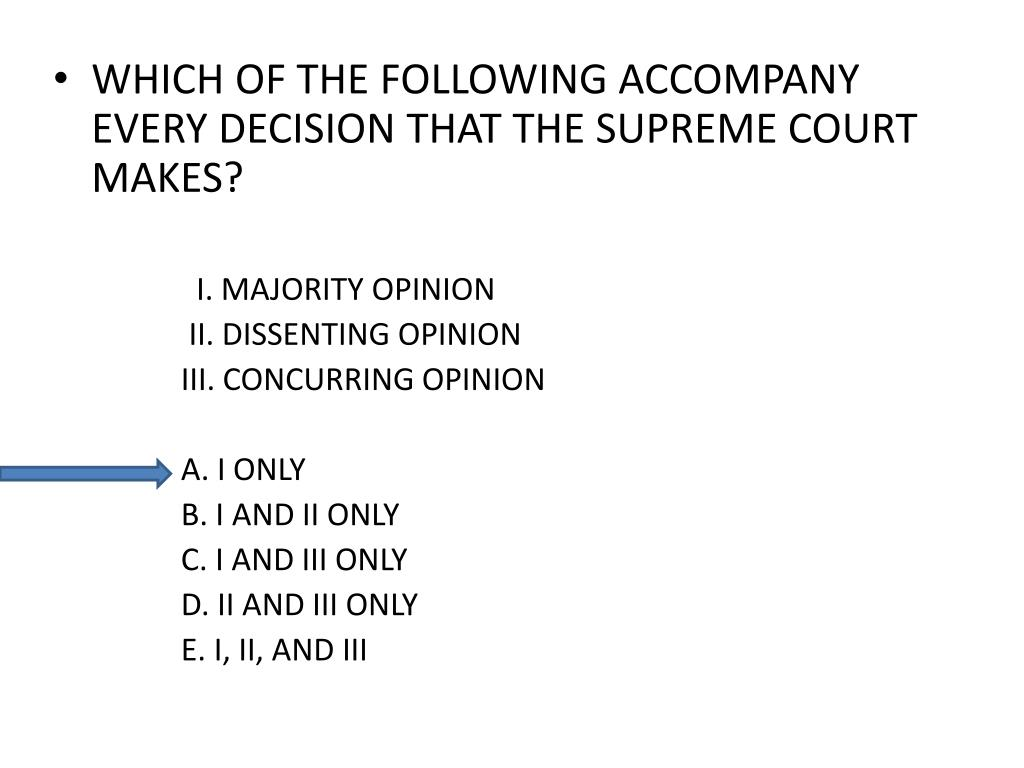 WHICH OF THE FOLLOWING ACCOMPANY EVERY DECISION THAT THE SUPREME COURT MAKES?