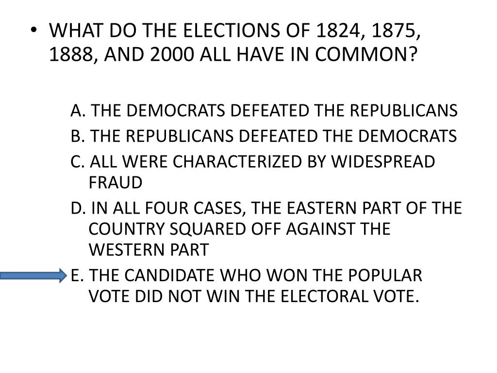 WHAT DO THE ELECTIONS OF 1824, 1875, 1888, AND 2000 ALL HAVE IN COMMON?